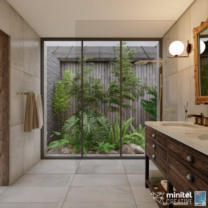 Bathroom with garden view